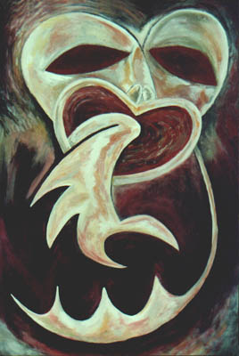 Maori influenced painting by Sonja van Kerkhoff