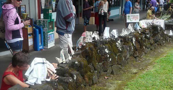 Sonja herds elephants over the lava rocks towards the Hilo Farmers Market on March 16th, 2013
