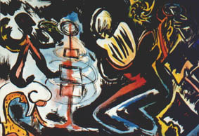 Apocalyse with four worlds, computer manipulated ink drawing, 1998.