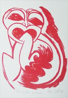 Maori influenced silkscreen print by Sonja van Kerkhoff
