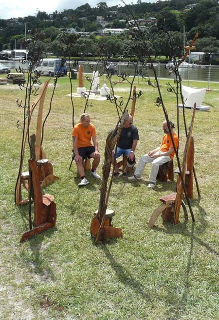 Land Art or a Site specific outdoor sculpture made out of recycled Pohutukawa and Oak by Sen McGlinn + Sonja van Kerkhoff at the 2016 Whangarei Sculpture Symposium