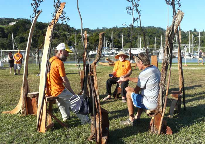 outdoor sculpture made out of recycled Pohutukawa and Oak by Sen McGlinn + Sonja van Kerkhoff at the 2016 Whangarei Sculpture Symposium