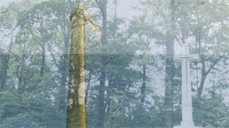 Still of video by Sonja van Kerkhoff showing a dutch beehive pole, a Belgium forest and an English view of the north sea