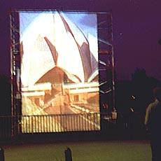 photograph of a projection of a video by Sonja van Kerkhoff